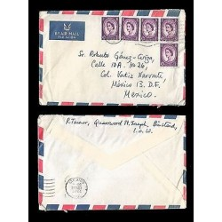 E)1964 GREAT BRITAIN, QUEEN ELIZABETH II, BLOCK OF 5, AIR MAIL, CIRCULATED COVER