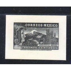 G)1934 MEXICO, DIE PROOF BLACK EAGLE MAN, MNH