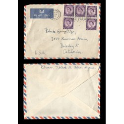 E)1951 GREAT BRITAIN, QUEEN ELIZABETH II, 297 A127, BLOCK OF 5, AIR MAIL