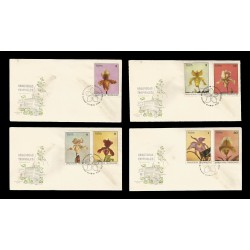 E)1972 CARIBBEAN, ORCHIDS, FLOWERS, NATURE, A426, SET OF 4, FDC