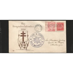 E)1950 CARIBBEAN, PRO CHILDREN'S HOSPITAL, LIBERTY CARRYING FLAG AND CIGAR, RA10 PT7, 421 A146, SEMI POSTAL STAMP, FDC