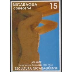 E) 1994 NICARAGUA, ATLANTE - JORGE NAVAS CORDERO, NICARAGUA SCULPTURE, POSTCARD