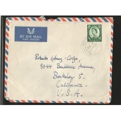E)1951 GREAT BRITAIN, QUEEN ELIZABETH II, A132, AIR MAIL, CIRCULATED COVER TO CALIFORNIA-USA, XF