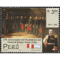 B)2001 PERU, LAWYER, POLITICIAN, GEN. ROQUE SAENZ PEÑA,PRESIDENT OF ARGENTINA, SC 1300 A607,