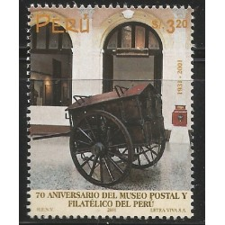B)2001 PERU, MUSEUM, CART, POSTAL AND PHILATELIC MUSEUM, 70TH ANNIVERSARY, SC 1303 A610, MNH