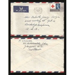 B)1963 SCOTLAND, QUEEN, RED CROSS CENTENARY CONGRESS, AIRMAIL. CIRCULATED COVER FROM GLASCOW SCOTLAND TO USA, 399 A163