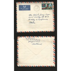 B)1963 SCOTLAND, QUEEN ELIZABETH, NATIONAL PRODUCTIVITY SYMBOL A157, AIRMAIL, CIRCULATED COVER FROM SCOTLAND TO USA, XF