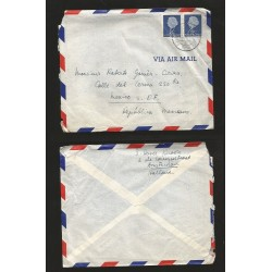 B)1954 NEDERLAND, QUEEN JULIANA, STRIP OF 2, 25C, DEEP BLUE, 348 A82, AIRMAIL,CIRCULATED COVER FROM NEDERLAND TO MEXICO, XF
