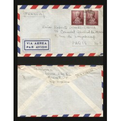 B)1951 SPAIN, ROYAL, QUEEN ISABELLA I, 50C BROWN, SC 781 A206, AIRMail, CIRCULATED COVER FROM SPAIN TO MEXICO, XF