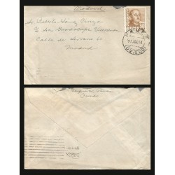 B)1951 SPAIN, PRESIDENT, MILITARY, DICTATOR, GENERAL FRANCO, SC A194, CIRCULATED COVER FROM OVIEDO TO MADRID, XF