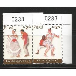 B)2001 PERU, DANCE, CULTURE, PEOPLE, FOLK DANCES, ZAMACUECA, ALCATRAZ, SET OF 2, SC 1331-1332 A626, S/S, MNH