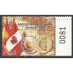 B)2002 PERU, FLAGS, MAP, COIN, PERUVIAN-SPANISH BUSINESS MEETING, SC 1347 A632, SOUVENIR SHEET, MNH