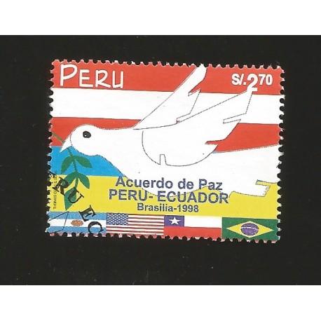 B)1998 PERU, PEACE, FLAGS, BRASILIA 98`, PERU-ECUADOR PEACE TREATY, SC 1202 A541, MNH