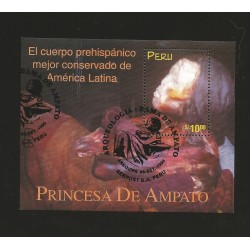 B)1998 PERU, PREHISPANIC, ARCHEOLOGY, BODY BEST KEPT IN LATIN AMERICA, PRINCESS DE AMPATO, SC 1195 A534, S/S, MNH