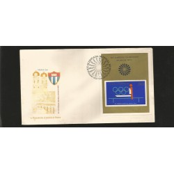 E)1972 CARIBBEAN, SUMMER OLYMPICS GAMES, MUNICH, GYMNASTICS, 1722 A448, IMPERFORATED, S/S, FDC