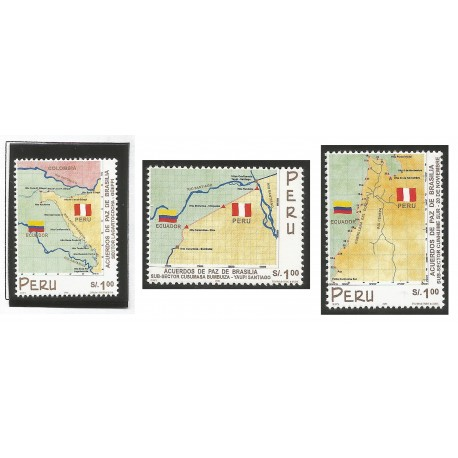 B)1999 PERU, MAPS, PEACE, REGIONS, BORDER DISPUTES SETTIED BY BRASILIA PEACE ACCORDS, SOUVENIR SHEET, MNH