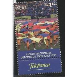 B)1999 PERU, PLAY, GAMES, NATL. SCHOLASTIC GAMES, TELEFONICA, SC 1257 A576, S/S, MNH
