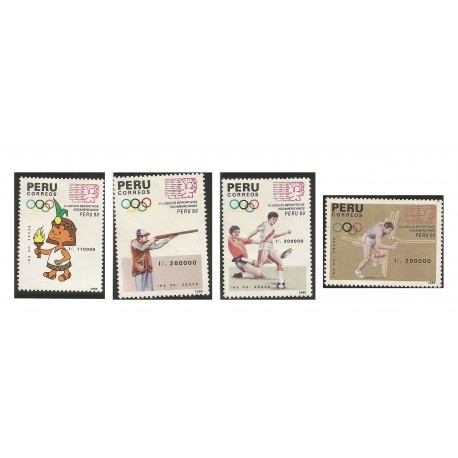 B)1990 PERU, SPORTS, TORCH BEARER, SHOOTING, SOCCER, RUNNING, HORIZ, SOUTH AMERICAN GAMES, SC 993-996 A423, S/S, MNH