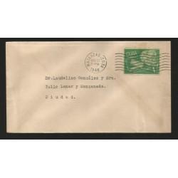 E)1948 CARIBBEAN, AGED COUPLE, SC 396 A130, CIRCULAR MATANZAS CANC., INTERNAL USAGE, XF