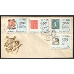 E)1991 CARIBBEAN, LATIN AMERICAN HISTORY, STAMPS OR MUSICIANS AND INSTRUMENTS, DISCOVERY OF AMERICA, 500TH ANNIV. IN 1992, FDC