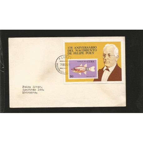 E)1974 CARIBBEAN, 175 ANNIVERSARY OF THE BIRTH OF FELIPE POEY, PORTRAIT, FISH, STAMP ON STAMP, CIRCULATED COVER TO MATANZAS, XF