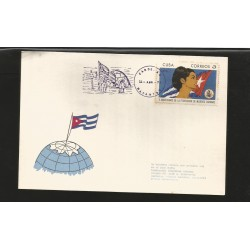 E)1970 CARIBBEAN, WOMAN'S FEDERATION, 10TH ANNIV, SC 1546 A407, NORTH POLE FANCY CANCE,. WITH HINGED, CARD