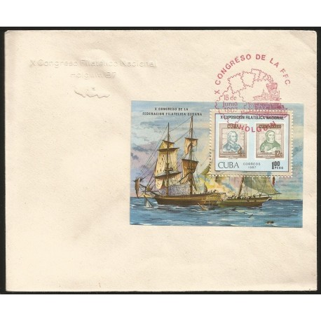B)1987 CUBA CARIBBEAN, BOAT, SEA, STAMP, EXFILNA 87, 10TH NATIONAL. STAMP EXPOSITION, HOLGUIN, SC 2927 A814, CARD