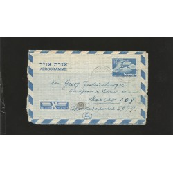 E)1952 ISRAEL, RUNNING STAG, AIR MAIL, AEROGRAMME TO MEXICO, RARE DESTINATION, XF