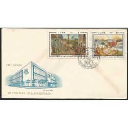 B)1972 CUBA-CARIBE, PEOLPLE, BEACH, WORKS OF ART NATIONAL MUSEUM, PAIR OF 2, FDC