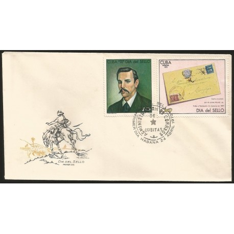 B)1972 CARIBE, MAN, POSTMASTER-GEN, VICENTE MORA PERA, SOLDIER'S LET-TER, CUBA TO VENEZUELA, 1897, STAMP DAY, FDC