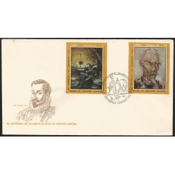 B)1972 CARIBE, SOLDIER, NOVELIST, POET, 425 ANNIVERSARY OF THE BIRTH OF MIGUEL DE CERVANTES SAAVEDRA, SC 1734-1736 A451, FDC