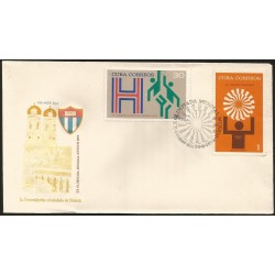 B)1972 CARIBE, SPORT, GAMES, OLYMPICS, ATHLETE, EMBLEMS, BASKETBALL, 1972 SUMMER OLYMPICS, MUNICH, 1715 A448, FDC