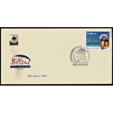 B)2001 CARIBE, BEACH, 15 TH ANNIVERSARY, TOURISM, SIRENA BEACH, CAYO LARGO DEL SUR, SC 4166-4169 A1162, FDC