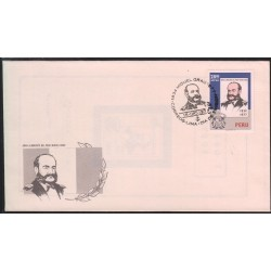 O) 1977 PERU, ADMIRAL OF THE NAVY MIGUEL GRAU -KNIGHT OF THE SEAS, FDC XF