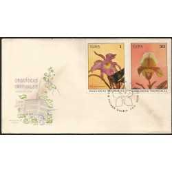 B)1971 CARIBE, FAUNA, FLOWERS, ORCHID, CATTLEYA SKINNERII, CYPRIPEDIUM SO-lUM, SC 1620 A426, PAIR OF 2, FDC