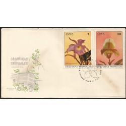 B)1971 CARIBE, FAUNA, FLOWERS, ORCHID, CATTLEYA SKINNERII, CYPRIPEDIUM SO-lUM, SC 1620 A426, PAIR OF 2, FDC
