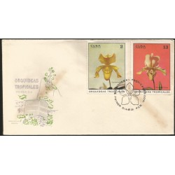B)1971 CARIBE, FAUNA, FLOWERS, ORCHID, VANDA HIBRIDA, CYPRIPEDIUM MOWGH, SC 1621 A426, PAIR OF 2, FDC