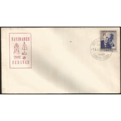 B)1958 CARIBE, ANTHROPOLOGIST, MALACOLOGIST AND CUBAN ZOOLOGIST, CARLOS DE LA TORRE, VIOLET BLUE, SC 607 A227, CHRISTMAS, FDC