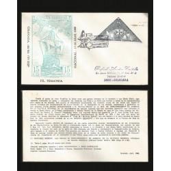 B)1986 CARIBE, BOTAT, CRISTOBAL COLON, 12 OF OCTOBER, DISCOVERY OF AMERICA, DISCOVERY OF AMERICA IN THE WORLD PHILATELY, CARD
