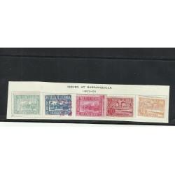 O) 1902 - 1903 COLOMBIA, 2 C. GREEN, 2 C. DK BLUE, 2 C. ROSE, 10 C. CLARET, 10 C. ORANGE, RIVER MAGDALENA,IMPERFORATED