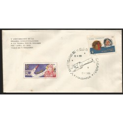 B)1966 CARIBE, SPACE, MEN, ASTRONAUT, 5 ANNIVERSARY OF THE FIRST CIRCUNVALACION TO EARTH BY MAN, GAGARIN, FDC