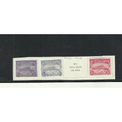 O) 1902 - 1903 COLOMBIA, ARCHITECTURE 1510- HILL LA POPA, 20 C. VIOLET, 20 C. BLUE, 2 C. CARMINE IMPERFORATE,XF