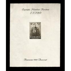 E)1932 ROMANIA, KING CAROL, ROMANESQUE PHILATELIC EXHIBITION, IMPERFORATED, SOUVENIR SHEET, MNH