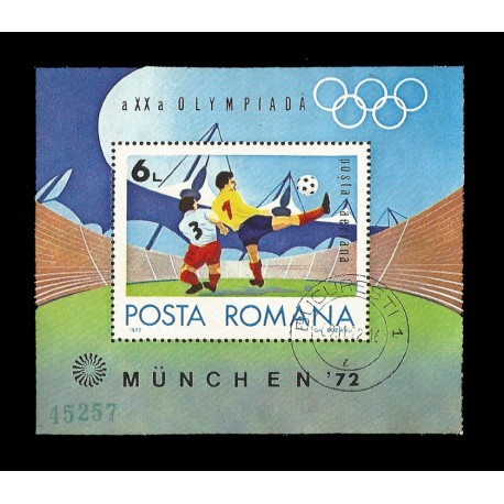 E)1972 ROMANIA, OLYMPIC GAMES MUNICH'72, SPORTS, FOOTBALL, SOCCER, CTO, RESGISTERED, SOUVENIR SHEET, MNH