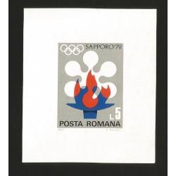 O) 1971 ROMANIA, OLYMPIC GAMES- FLAME - SYMBOL, SAPPORO 1972, SOUVENIR MNH