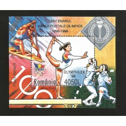 E)1996 ROMANIA, OLYMPIC GAMES 96', ATHETLES, SPORTS, SOUVENIR SHEET, MNH