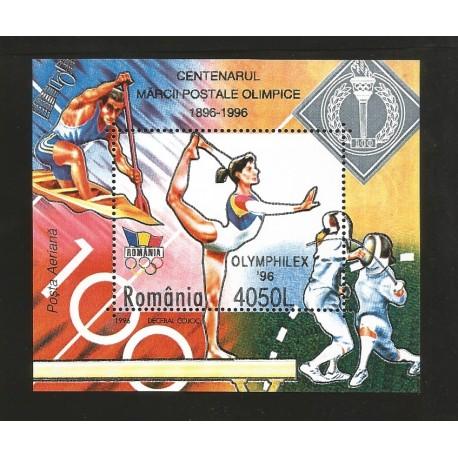 E)1996 ROMANIA, OLYMPIC GAMES 96', ATHETLES, SPORTS, SOUVENIR SHEET, MNH