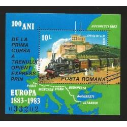 E)1983 ROMANIA, TRAIN, MAP, EUROPE, SOVENIR SHEET, MNH