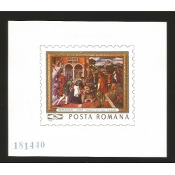 E)1969 ROMANIA, BERNARDINO LICINIO, ILUSTRATION, IMPERFORATED, SOUVENIR SHEET, MINT WITH HINGE