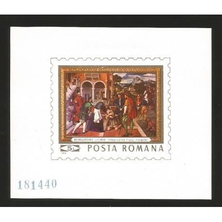 E)1969 ROMANIA, BERNARDINO LICINIO, ILUSTRATION, IMPERFORATED, SOUVENIR SHEET, MINT WITH HINGE